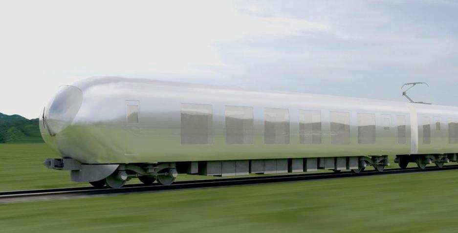 Initial rendering of Kazuyo Sejima's proposal for the Seibu Group's new bullet train. Image via Spoon & Tamago.