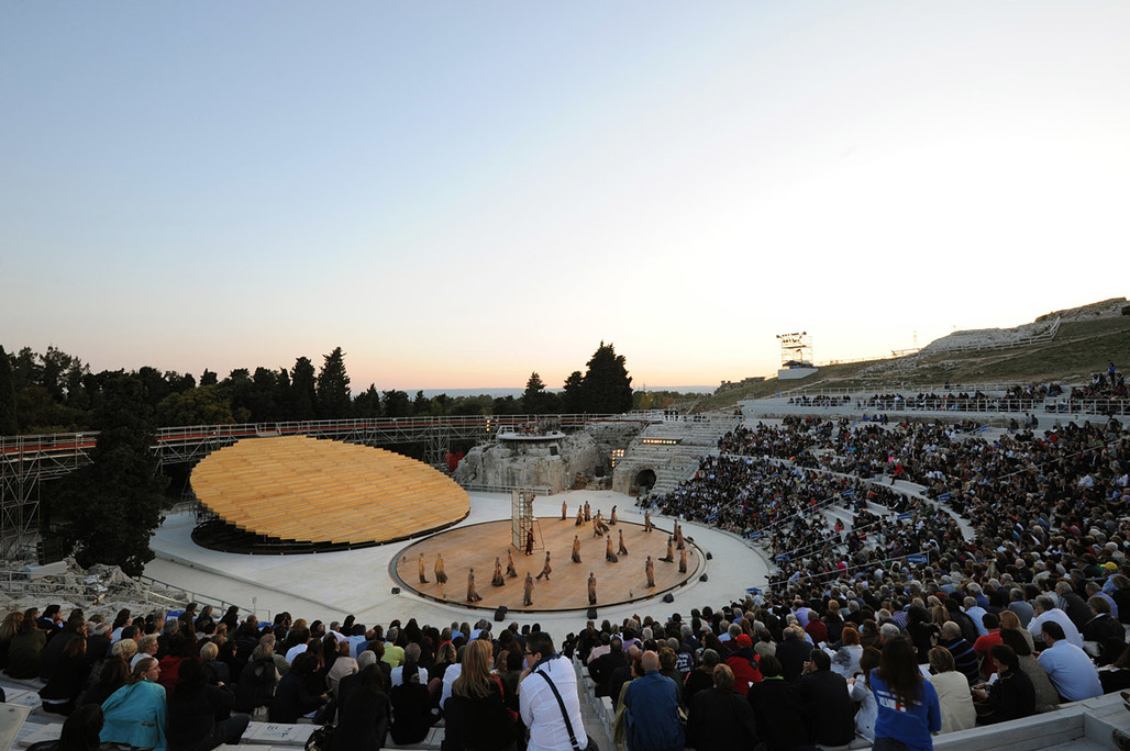 Scenography at the ancient Greek Theatre in Syracuse, Sicily by OMA (Photo: Alberto Moncada)