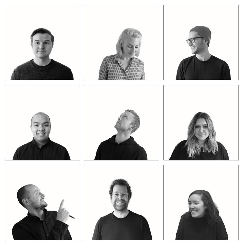 D'Arcy Jones Architecture team - TOP, left to right: Craig Bissell, Architect AIBC, Sarah Cree, Intern Architect, Jonathan Leger, Graduate Architect; MIDDLE, left to right: Jesse Nguyen, Intern Architect, Ben Reimer, Intern Architect, Rebecca Boese, Designer; BOTTOM, left to right: Jesse Ratcliffe, Architect AIBC, D'Arcy Jones, Architect AIBC, Maria Barroso, Student