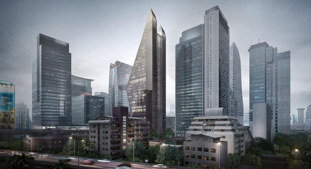 Rendering of the finished Rosewood Bangkok Hotel