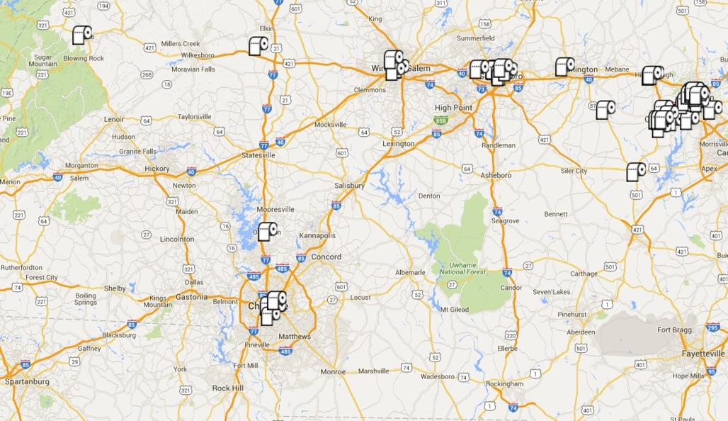 "A screenshot of the ""Safe Bathrooms"" Google Map."