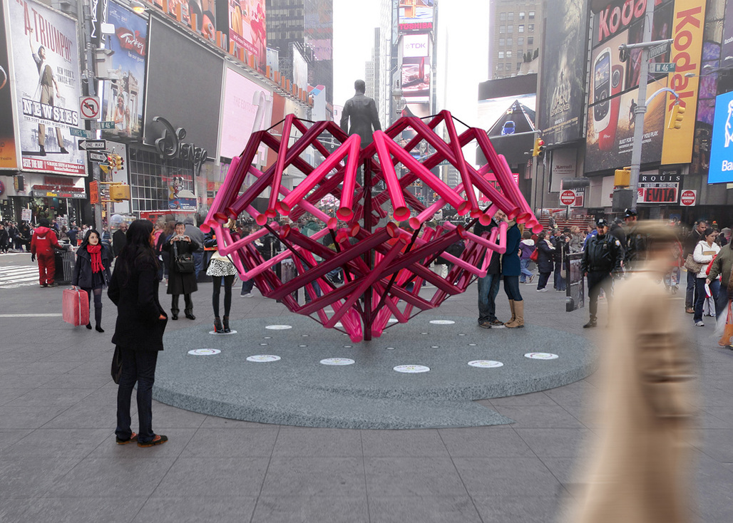 """Young Projects - """"Match Maker"""". Winner of the 2014 Times Square Heart Design. Image courtesy of 2014 Times Square Heart Design competition"""