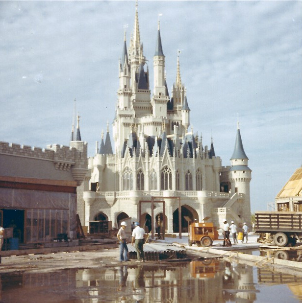 The iconic Cinderella Castle, the theme park's central landmark structure, under construction in the early 1970s. (Image via cnn.com, courtesy of Kelly Wise Valdes.)