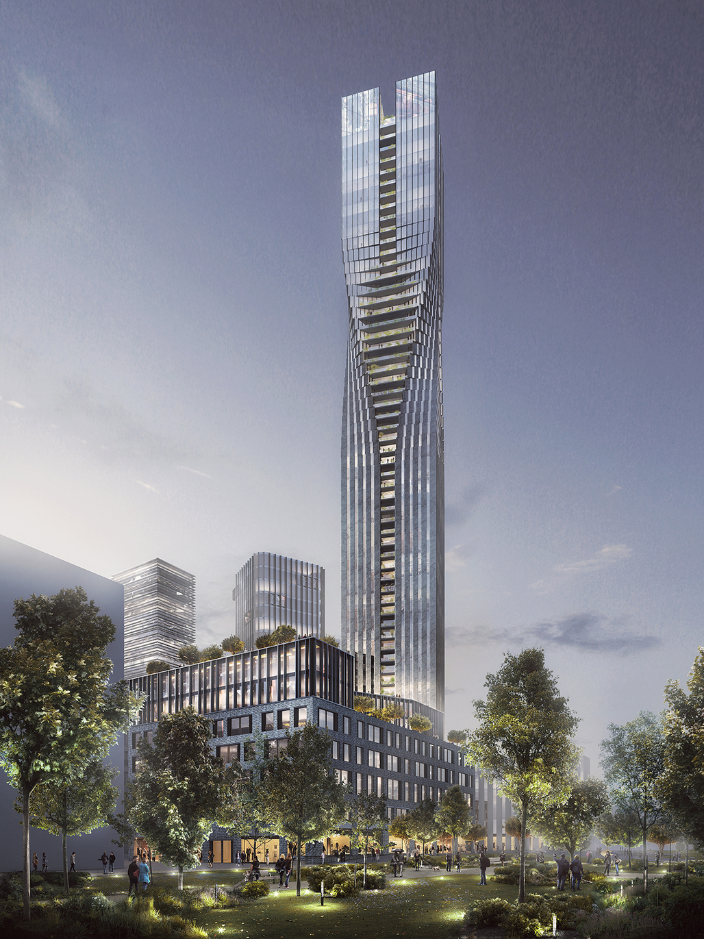 SOM and Entasis' winning design for the Polestar Tower in Gothenburg, Sweden. Image courtesy of SOM.