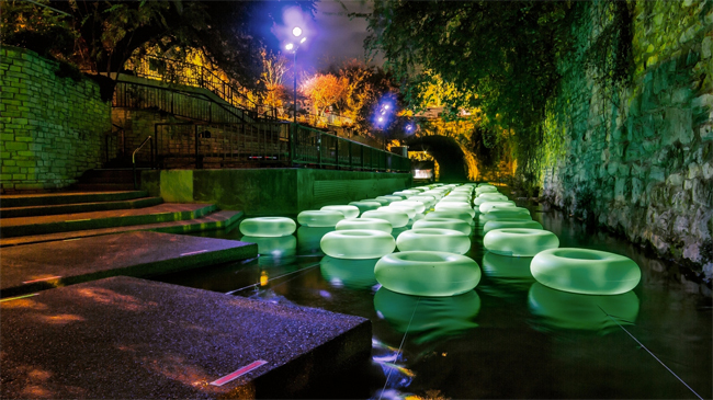 The Creek Show light art installation along Waller Creek in Austin. Photo: Dillon Magnuson, via Metropolis.