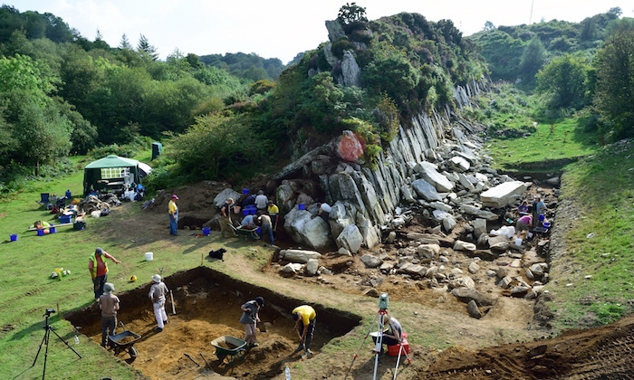 Archaeologists at one of the quarry sites in Wales. Photo: UCL via The Guardian.