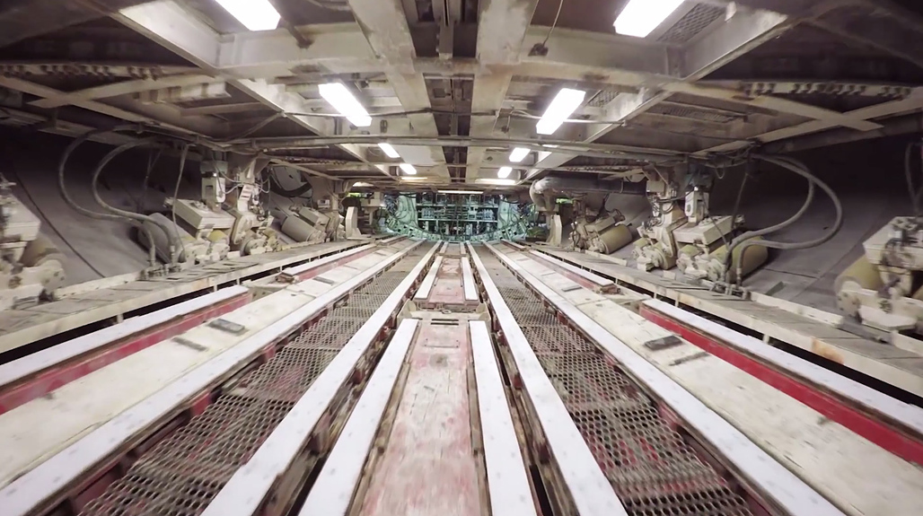 """What looks like a rebel-infiltration of the Death Star is actually a drone-captured impression of the inner workings of the gigantic tunneling machine """"Bertha"""" currently digging its/her way underneath the temporarily closed Alaskan Way Viaduct in Seattle. (Still from WSDOT's drone video)"""