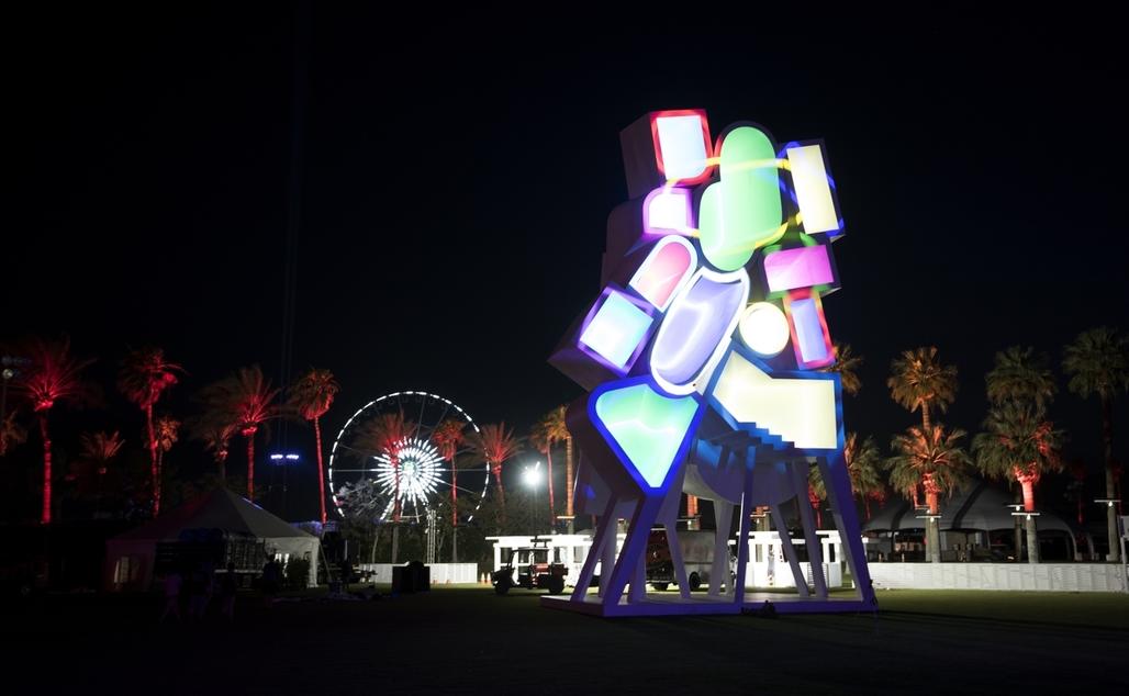 "Jimenez Lai's ""Tower of Twelve Stories"" at Coachella. Image courtesy Goldenvoice"