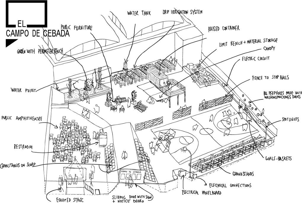 Design for the reinvigorated El Campo de Cebada. Illustration- Zuloark