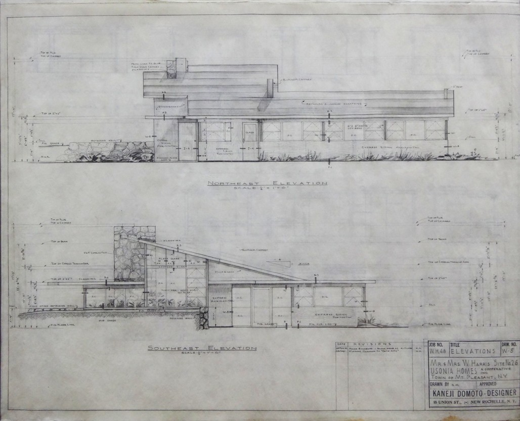 Kaneji Domoto's elevation drawing of the Harris House.