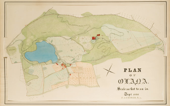 """An 1886 master plan for Olana in ink and watercolor on paper. A tiny red square marked """"summer house"""" suggests that he envisioned an open-air structure at a central spot on the site. Credit Collection, Olana State Historic Site"""