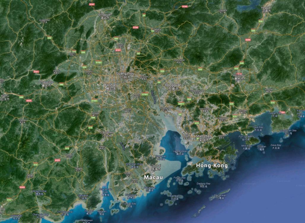 The Pearl River Delta. Image via Google Maps.