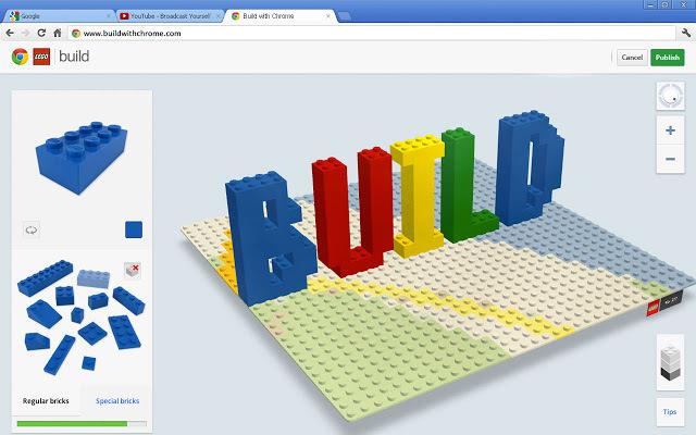 """LEGO® and Google Chrome's """"Build with Chrome"""". Image via Google Chrome web store."""