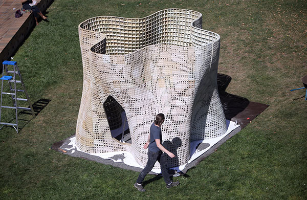 """The completed """"Bloom"""" structure in the courtyard of UC Berkeley's Wurster Hall. (Photo: Tom Levy; Image via berkeley.edu)"""
