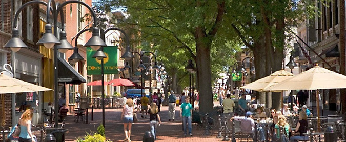 Charlottesville's downtown mall. Image: University of Virginia