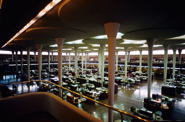 """Interior, """"Great Workroom"""", of the Johnson Wax Headquarters building—the project referenced in Wright's letter to Truslow. Image via Wikipedia."""