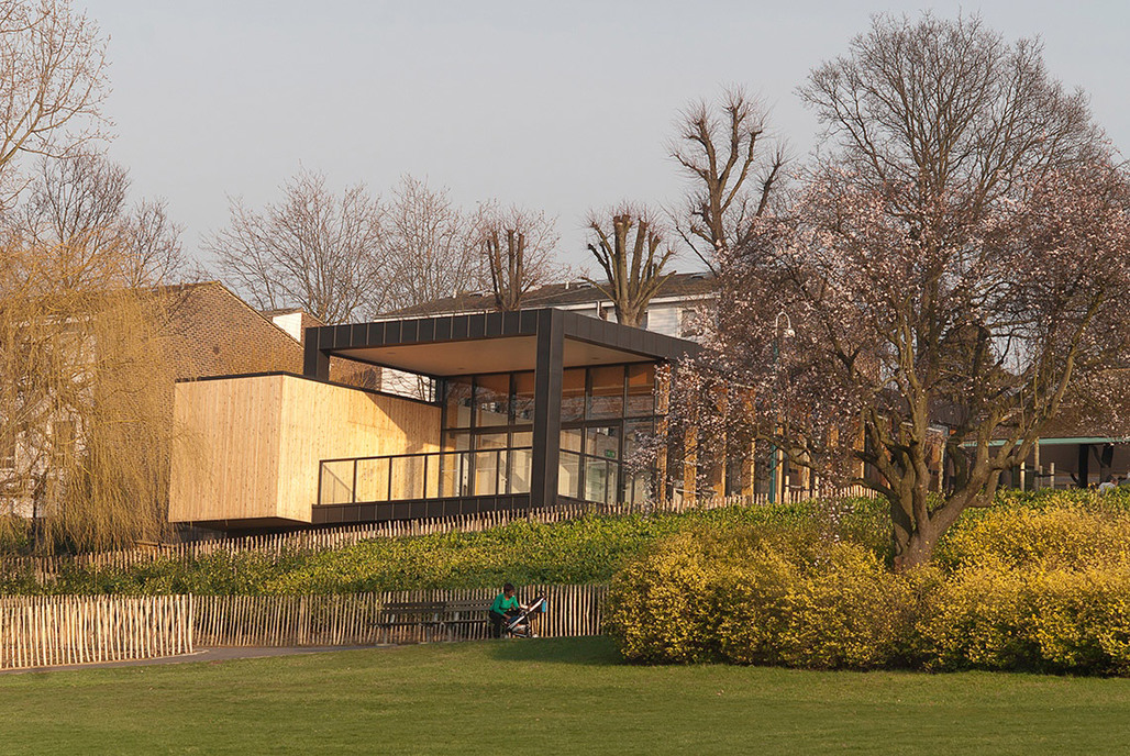 View of the new Pavilion, north-west elevation, from the Meadow Field (Photo: Michael Harding)
