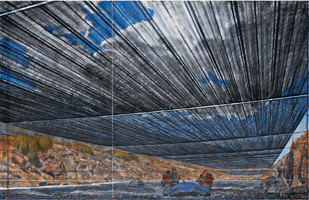 """A drawing of the proposed """"Over the River"""" project. Image: Andre Grossman's photo of Christo's 2012 drawing"""