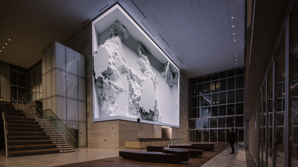 "An installation view of ""Virtual Depictions: San Francisco,"" a new ""data sculpture"" by Refik Anadol. Courtesy of the artist."