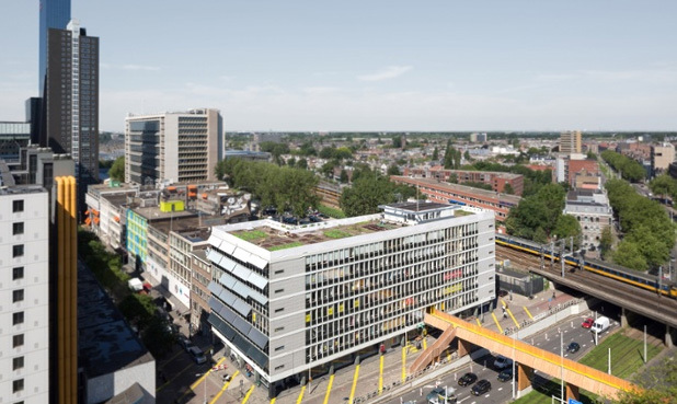 The Luchtsingel complex in Rotterdam includes a rooftop vegetable garden and park connected to the centre of the city by a 390m wooden pedestrian bridge, which is scheduled to be finished by the end of this year. Crowdfunders can fund a section of the bridge, even just a plank, in exchange for...