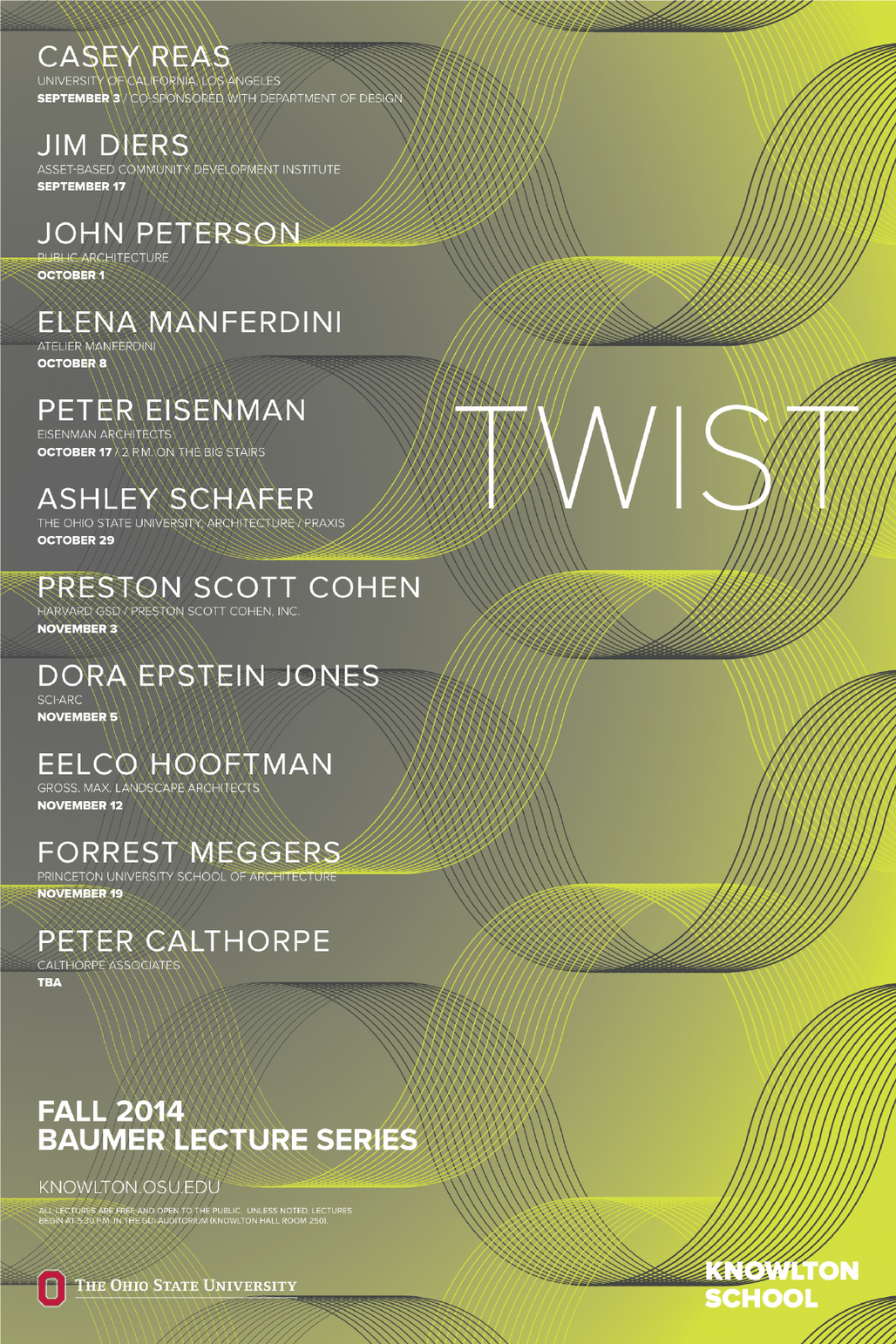 Fall '14 Baumer Lecture Series at Knowlton School of Architecture, Ohio State University. Image via knowlton.osu.edu