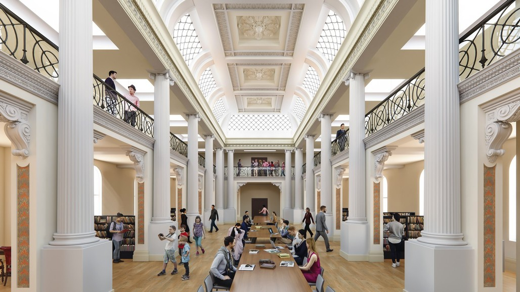 Rendering of the new Queens Hall at the State Library Victoria. Courtesy of schmidt hammer lassen.