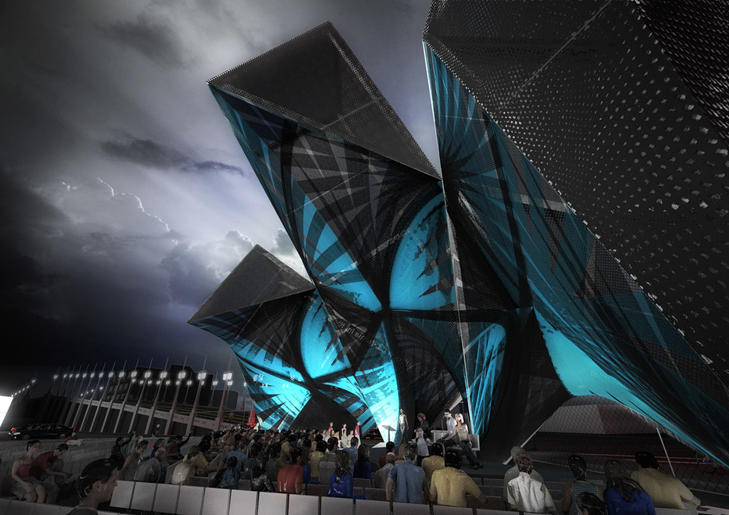 """Rendering of the competition-winning SCI-Arc Graduation Pavilion """"League of Shadows"""" by P-A-T-T-E-R-N-S (Image: P-A-T-T-E-R-N-S)"""