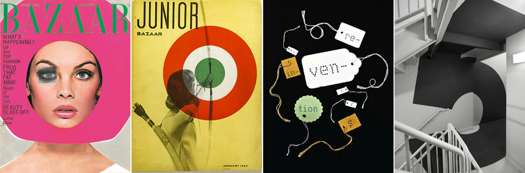Work by the first four designers in the Hall of Femmes series (left to right): Ruth Ansel, Lillian Bassman, Carin Goldberg, Paula Scher