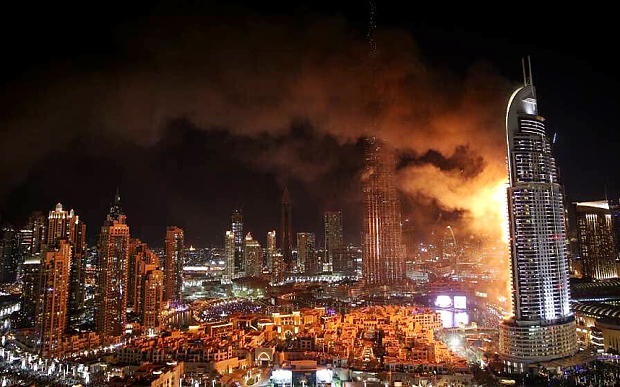 Millions witnessed on TV as The Address Downtown Dubai hotel – just vis-à-vis the Burj Khalifa – was engulfed in a massive blaze on New Year's Eve. Non fire-rated exterior panels may have contributed to the fire. The investigation is still ongoing.