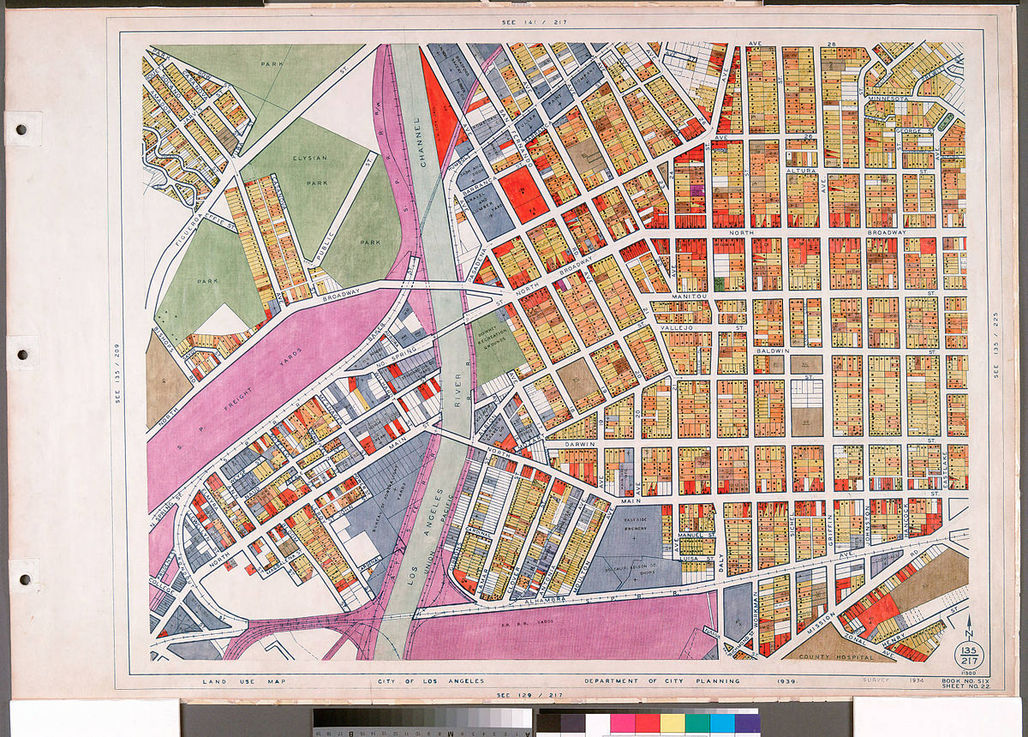WPA Land use survey map for the City of Los Angeles (1938). Image via Wikipedia.