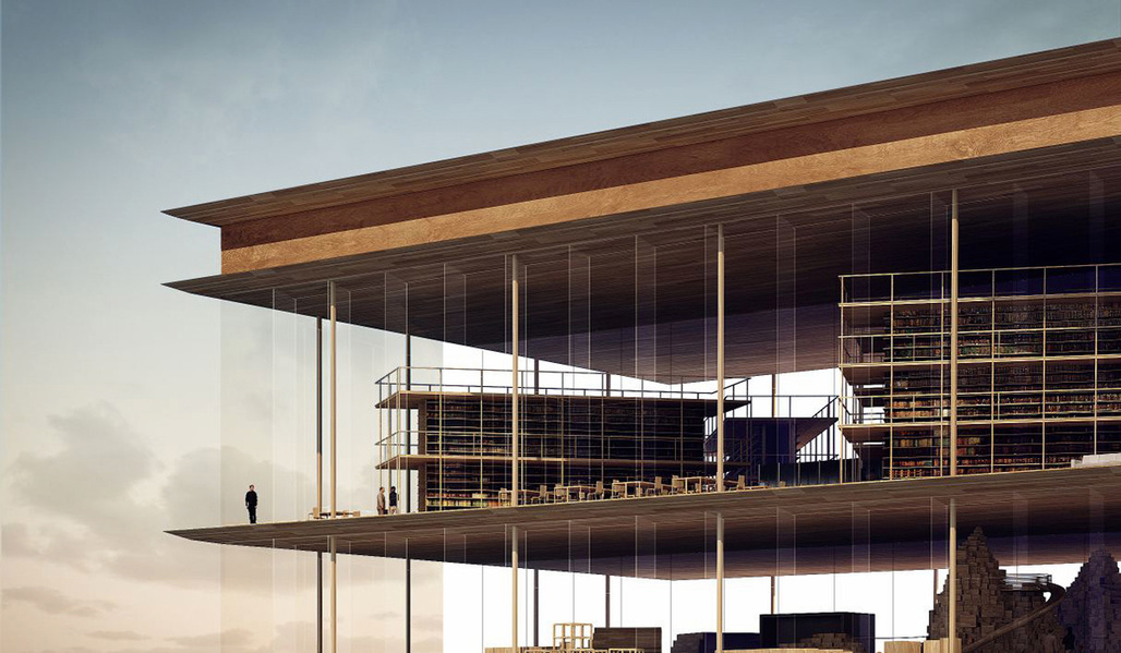 Closeup of the Helsinki Central Library proposal by AAKAA & MARS Architectes