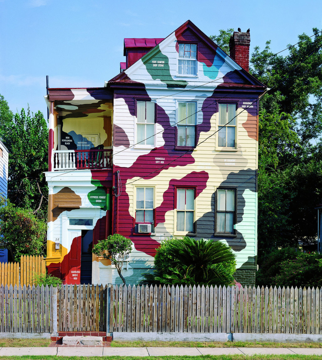 A house in Charleston, S.C., that Kate Ericson and Mel Ziegler painted in a camouflage pattern. Credit Kate Ericson and Mel Ziegler:Galerie Perrotin