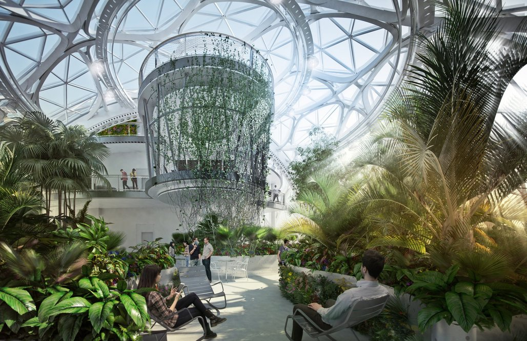 Renderings of the spheres at Amazon that show what the interiors are expected to look like. When they open in early 2018, the spheres will be packed with a plant collection worthy of top-notch conservatories. Image courtesy of NBBJ.