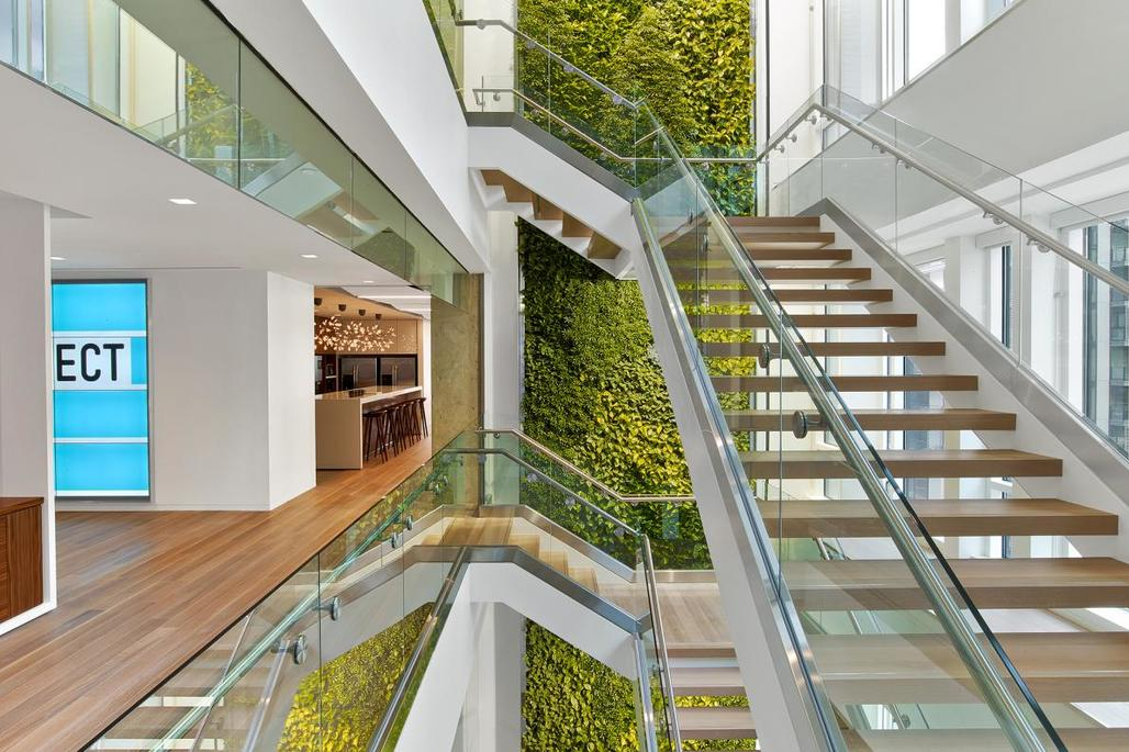 Flooded with natural light and facing a living wall of plants, a stairwell at the Washington, D.C., law office of Nixon Peabody invites staff to use it—and illustrates a new trend in design that could provide both a mental and physical boost. Photo by Eric Laignel