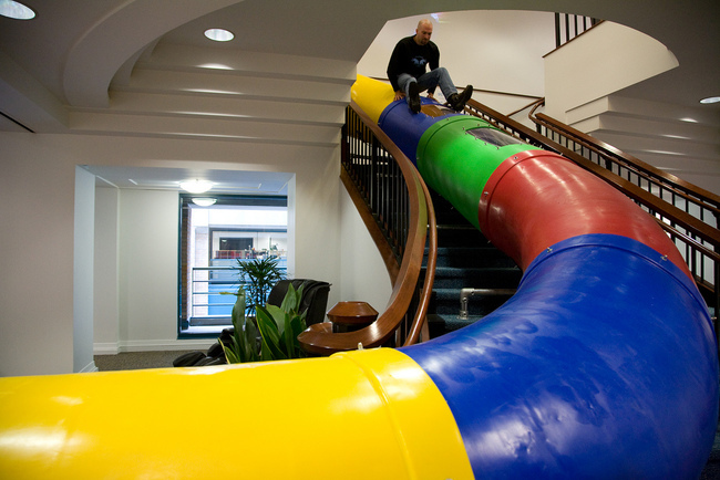 Slide at Google's SF office. Via flickr/Scott Beale.
