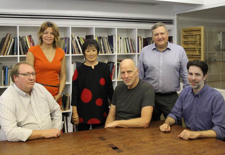 The winning team! From left: Charlie Young, IDEA; Dina Griffin, IDEA; Billie Tsien, TWBTA; Tod Williams, TWBTA; Bob Larsen, IDEA; Paul Schulhof, TWBTA