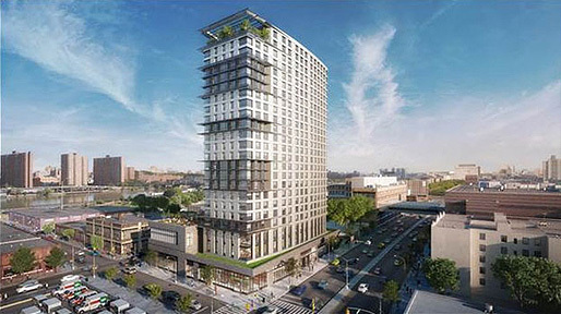 Rendering of the proposed building design. (Image: Dattner Architects/the development partners; via housingfinance.com)
