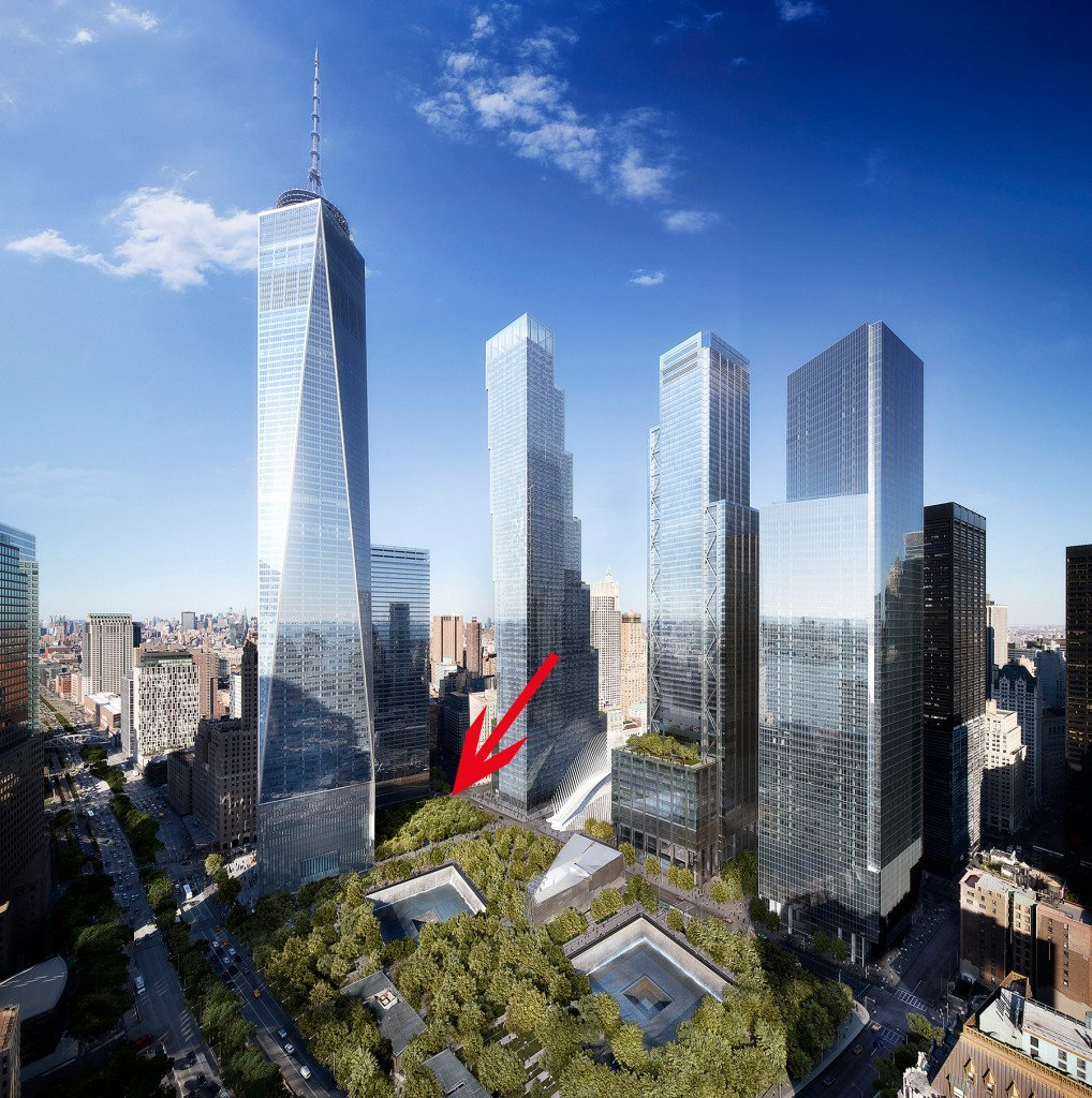 Image pointing to the site of the Performing Arts Center at the World Trade Center. Rendering by DBOX