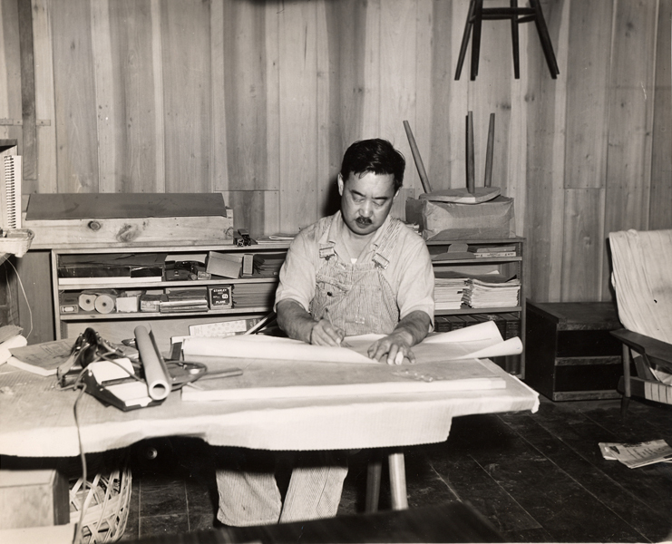 George Nakashima making some technical drawings inside his workshop in New Hope, Pennsylvania.
