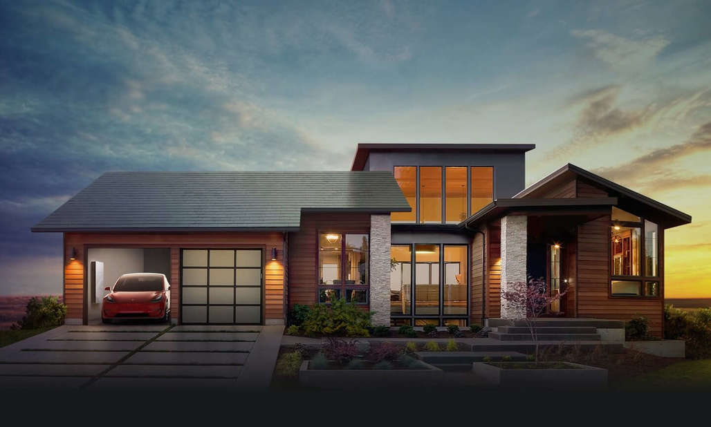 "Tesla's new solor roof tiles, shown in ""Smooth Glass"" style here. Credit: Tesla"