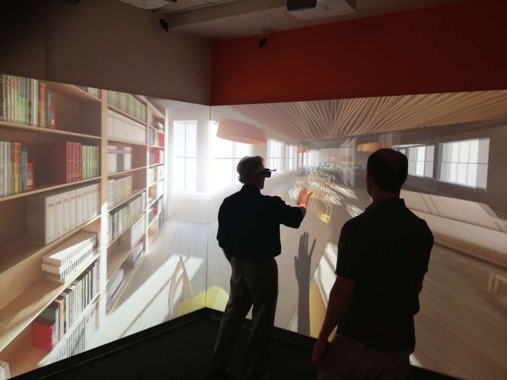 Modeling architecture with the CAVE environment, one potential VR model that NBBJ/Visual Vocal could employ. Image via architecture-interactive.com.