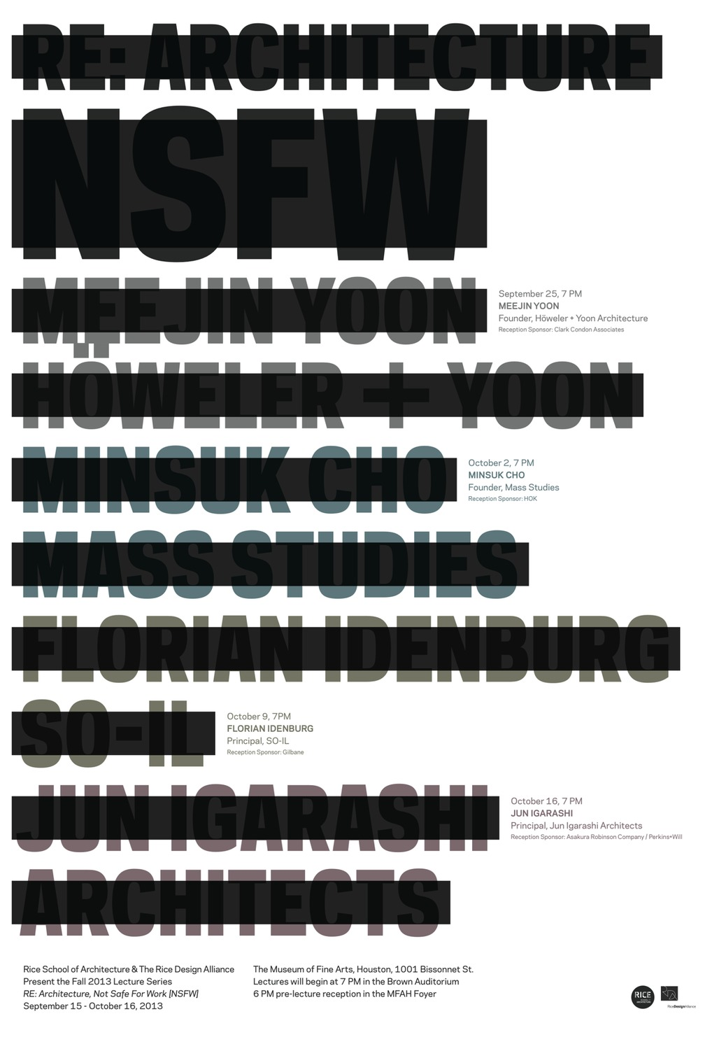 """Poster for RDA/RSA's """"Re: Architecture [NSFW]"""" Fall '13 lecture series. Design by Ian Searcy."""