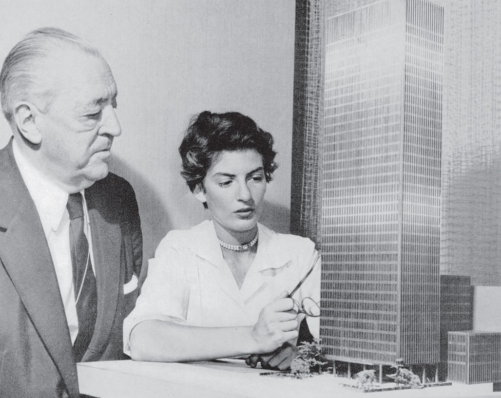 Ludwig Mies van der Rohe and Phyllis Lambert with the model for the Seagram Building New York, 1955. Photo © Fonds Phyllis Lambert.