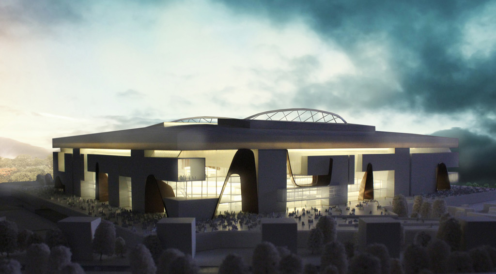 Model photo of the winning stadium design (Image: Populous and Ateliers 2/3/4/)