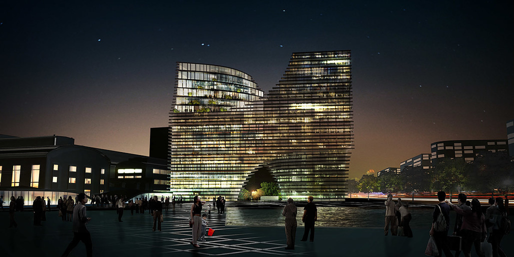 Hangzhou Gateway, night view, Image: JDS Architects