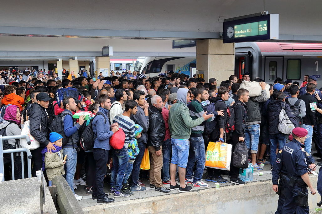 Migrants in Austria on their way to Germany. Image via wikimedia.org