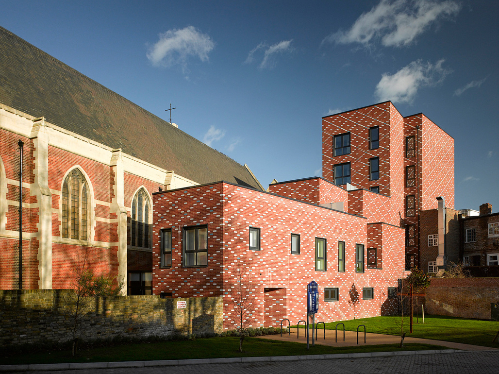 St Mary of Eton Church, Apartments and Community Rooms, Hackney Wick E9 by Matthew Lloyd Architects LLP. Photo © Benedict Luxmoore.