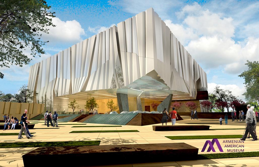 Exterior rendering of the proposed Armenian American Museum in Glendale, California. (Image via armenianamericanmuseum.org)