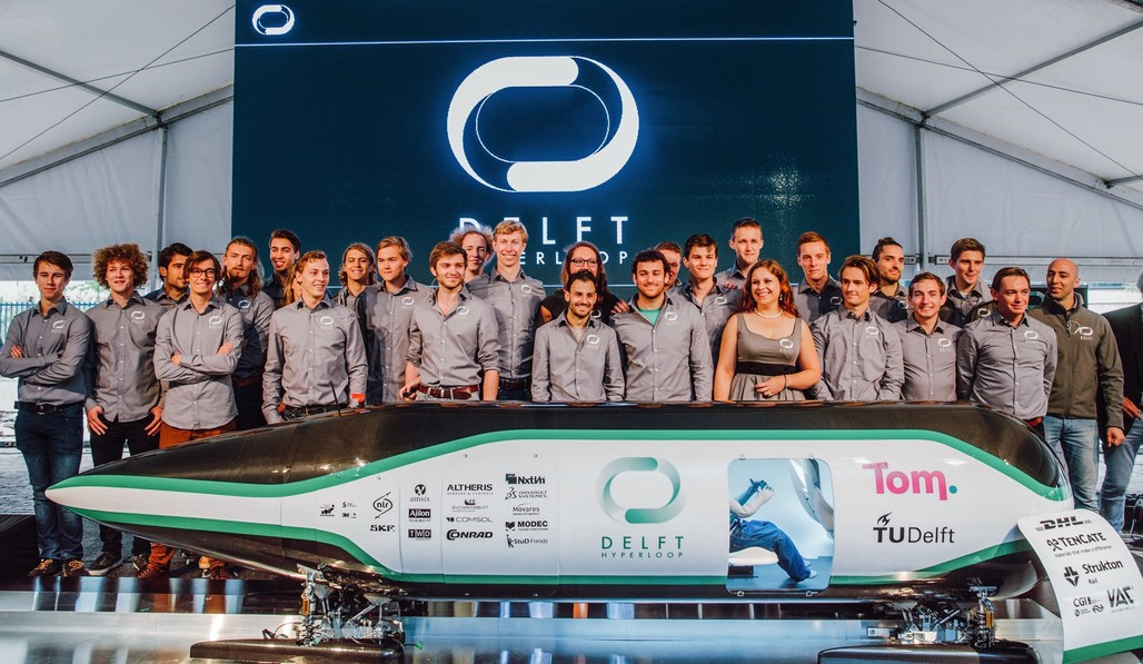 The TU Delft Hyperloop team during a public unveiling of their competition pod last June in The Netherlands. Photo: Joost Weddepohl.
