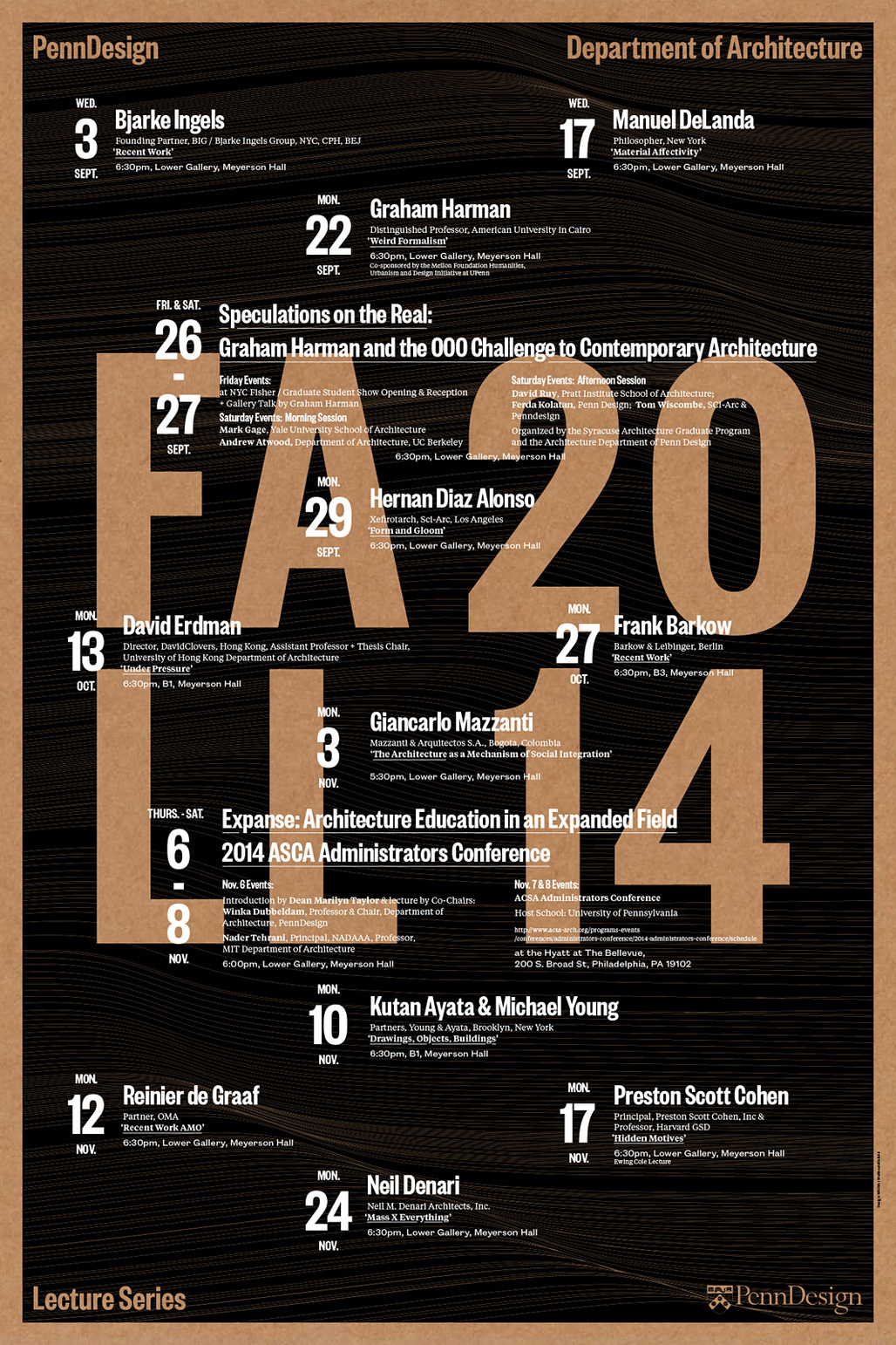 PennDesign Dept. of Architecture Fall 2014 Lecture Poster, designed by WSDIA | WeShouldDoItAll. Image courtesy of WeShouldDoItAll.